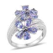 Tanzanite Platinum Over Sterling Silver Ring (Size 9.0) TGW 3.600 cts.