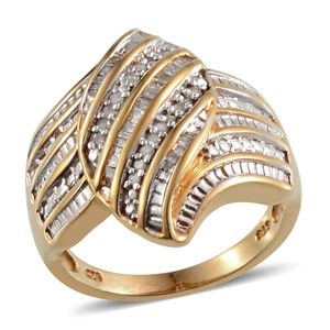 Diamond 14K YG Over Sterling Silver Ring (Size 8.0) TDiaWt 0.30 cts, TGW 0.300 cts.