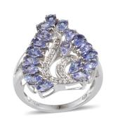 Tanzanite, Diamond Platinum Over Sterling Silver Ring (Size 7.0) TDiaWt 0.05 cts, TGW 4.200 cts.