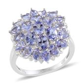 Tanzanite, Diamond Platinum Over Sterling Silver Ring (Size 8.0) TDiaWt 0.02 cts, TGW 4.520 cts.