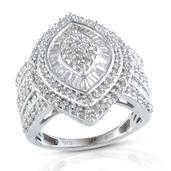 Diamond Platinum Over Sterling Silver Ring (Size 8.0) TDiaWt 1.00 cts, TGW 1.000 cts.