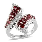 Mahenge Rose Spinel (Rnd), Diamond Ring in Platinum Overlay Sterling Silver Nickel Free (Size 7) TDiaWt 0.010Cts., TGW 1.81 Cts.