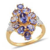 Tanzanite, Diamond 14K YG and Platinum Over Sterling Silver Ring (Size 7.0) TDiaWt 0.01 cts, TGW 4.250 cts.
