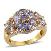 Tanzanite, Diamond 14K YG Over Ring Sterling Silver (Size 8.0) TDiaWt 0.02 cts, TGW 2.920 cts.