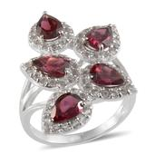 Orissa Rhodolite Garnet (Pear), White Topaz Ring in Platinum Overlay Sterling Silver Nickel Free (Size 9) TGW 5.65 Cts.
