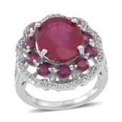 Niassa Ruby, White Topaz Sterling Silver Ring (Size 11.0) TGW 8.920 cts.