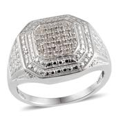 Diamond Platinum Over Sterling Silver Men's Ring (Size 12.0) TDiaWt 0.33 cts, TGW 0.330 cts.