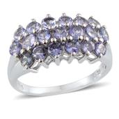 Tanzanite Platinum Over Sterling Silver Ring (Size 8.0) TGW 2.650 cts.