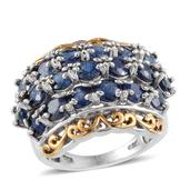 Kanchanaburi Blue Sapphire 14K YG and Platinum Over Sterling Silver Ring (Size 8.0) TGW 6.500 cts.