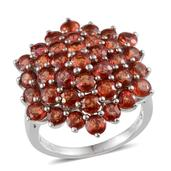 Orange Sapphire Platinum Over Sterling Silver Ring (Size 7.0) TGW 8.500 cts.