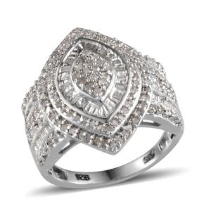 Diamond Platinum Over Sterling Silver Ring (Size 7.0) TDiaWt 1.00 cts, TGW 1.000 cts.
