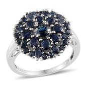 Kanchanaburi Blue Sapphire Platinum Over Sterling Silver Ring (Size 7.0) TGW 4.480 cts.