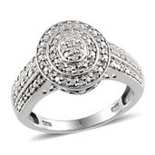 Diamond Platinum Over Sterling Silver Ring (Size 8.0) TDiaWt 0.33 cts, TGW 0.330 cts.