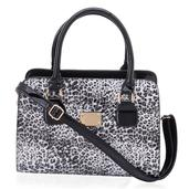 J Francis - White and Black Leopard Printed Leatherette Tote Bag (12.4x6x9 in)
