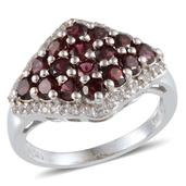 Pyrope Garnet, White Topaz Platinum Over Sterling Silver Ring (Size 6.0) TGW 2.800 cts.