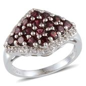 Pyrope Garnet, White Topaz Platinum Over Sterling Silver Ring (Size 7.0) TGW 2.800 cts.