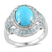Arizona Sleeping Beauty Turquoise, Electric Blue Topaz, White Topaz Platinum Over Sterling Silver Ring (Size 10.0) TGW 5.650 cts.