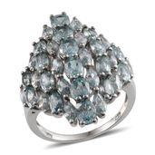 Cambodian Blue Zircon Platinum Over Sterling Silver Ring (Size 7.0) TGW 12.550 cts.