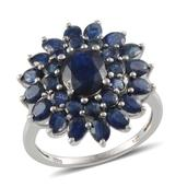 Kanchanaburi Blue Sapphire Platinum Over Sterling Silver Ring (Size 8.0) TGW 8.200 cts.