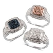 Red, Blue and White Diamond Platinum Over Sterling Silver Set of 3 Rings (Size 8) TDiaWt 0.50 cts, TGW 0.50 cts.