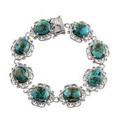 Mojave Blue Turquoise Platinum Over Sterling Silver Bracelet (7.50 In) TGW 37.500 cts.