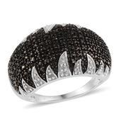 Black Diamond (IR), Diamond Platinum Over Sterling Silver Ring (Size 7.0) TDiaWt 0.50 cts, TGW 0.50 cts.