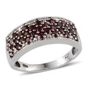 Pyrope Garnet, Diamond Platinum Over Sterling Silver Ring (Size 7) TDiaWt 0.01 cts, TGW 1.660 cts.
