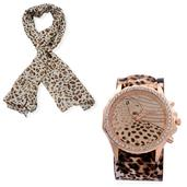STRADA Austrian Crystal Japanese Movement Watch with Stainless Steel Back, Taupe Leopard Print Band and 100% Viscose Leopard Print Scarf (64x36 in)