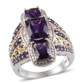 Lusaka Amethyst, Diamond 14K YG and Platinum Over Sterling Silver Ring (Size 6.0) TDiaWt 0.02 cts, TGW 6.850 cts.