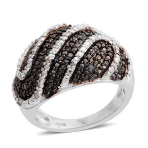 Black Diamond (IR), Diamond Black Rhodium and Platinum Over Sterling Silver Ring (Size 7.0) TDiaWt 0.33 cts, TGW 0.33 cts.