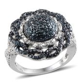 Blue Diamond (IR), Diamond Platinum Over Sterling Silver Ring (Size 6.0) , TDiaWt 0.25 cts, TGW 0.250 cts.