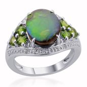 Canadian Ammolite, Russian Diopside, White Topaz Sterling Silver Ring (Size 7.0) TGW 3.200 cts.