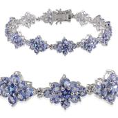 Tanzanite Platinum Over Sterling Silver Bracelet (7.25 In) TGW 14.750 cts.