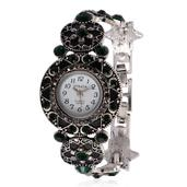 STRADA Gray and Green Austrian Crystal Japanese Movement Watch with Stainless Steel Back in Silvetone