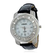 STRADA Austrian Crystal Japanese Movement Watch with Stainless Steel Back and Black Band