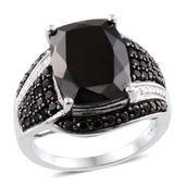 Thai Black Spinel, Diamond Accent Platinum Over Sterling Silver Ring (Size 9.0) TDiaWt 0.01 cts, TGW 17.075 cts.