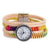 STRADA Multi Color Glass Japanese Movement Watch with Yellow Silk Cord Band