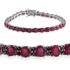 Niassa Ruby, Orissa Rhodolite Garnet Platinum Over Sterling Silver Bracelet (8.00 In) TGW 16.750 cts.