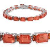 Sunfire Quartz, Jalisco Fire Opal Platinum Over Sterling Silver Bracelet (7.50 In) TGW 42.400 cts.