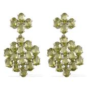 Hebei Peridot Platinum Over Sterling Silver Earrings TGW 16.55 Cts.