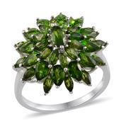 Russian Diopside Platinum Over Sterling Silver Ring (Size 7.0) TGW 6.100 cts.