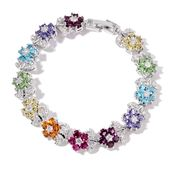 Multi Color Austrian Crystal, Simulated White Diamond Silvertone Bracelet (7.50 In) TGW 5.00 cts.