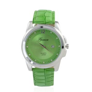 GENOA Austrian Crystal Miyota Japanese Movement Watch with Green Band and Stainless Steel Back
