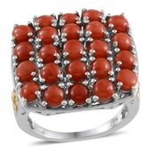 Mediterranean Coral 14K YG and Platinum Over Sterling Silver Ring (Size 7.0) TGW 6.150 cts.