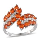 Jalisco Fire Opal (Pear), Diamond Ring in Platinum Overlay Sterling Silver Nickel Free (Size 7.0) TDiaWt 0.01 cts, TGW 2.000 cts.