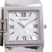 NARMI Mother of Pearl Japanese Movement Cuff Watch in Silvertone with Stainless Steel Back TGW 0.004 cts.