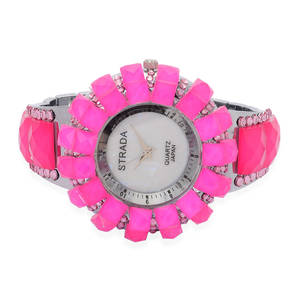 STRADA Pink Glass Japanese Movement Watch in Silvertone with Stainless Steel Back