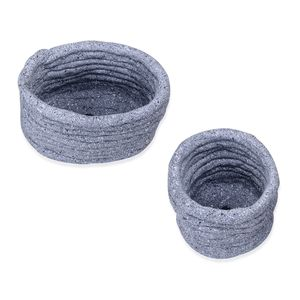 Set of 2 Gray Pottery Planters (4, 6 in)