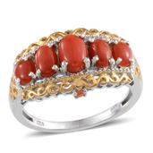 Mediterranean Coral, Jalisco Fire Opal 14K YG and Platinum Over Sterling Silver Ring (Size 6.0) TGW 2.740 cts.