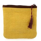 Yellow Cotton Small Pouch with Tassel (6X6 in)